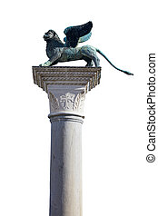 Winged Lion statue, symbol of Venice isolated on white, clipping path