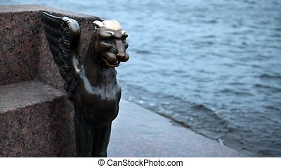 winged lion - Bronze figure mythical creature winged lion...