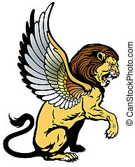 winged lion - winged lion, mythological creature, image...