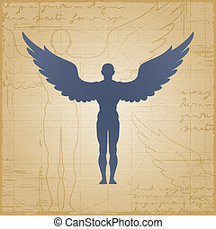 Winged man on grunge background. Vector illustration with clipping mask.