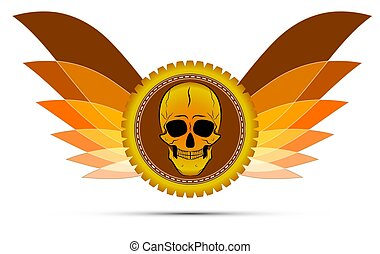 winged medal with a skull