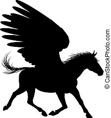 Winged Pegasus Horse Silhouette