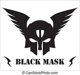 winged, pretas, máscara, cranio