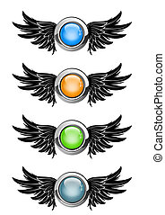 winged round buttons