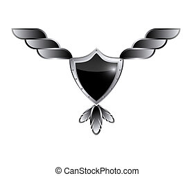Winged shield banner black glossy
