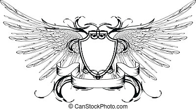 winged shield coat of arms in vector format
