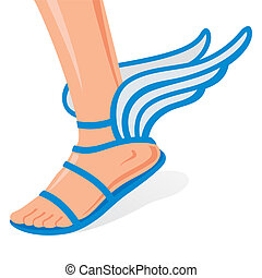 Winged shoes - Winged sandals for men leg on a white...