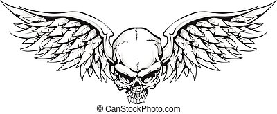 Winged Skull - Black and white illustration of a winged...