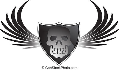Winged Skull - Black shield chrome icon object with skull...