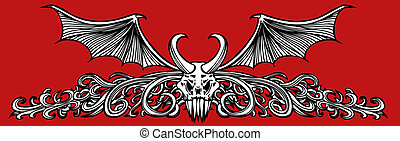 Winged Skull Demon drawing isolated on a red background.