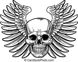 Winged Skull Drawing - Winged skull drawing in a vintage...
