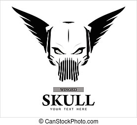 Winged Skull in black and white
