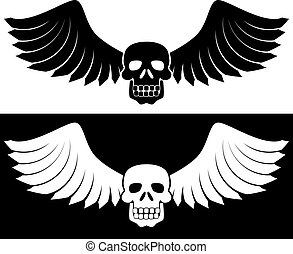 Winged Skull Set - Set of two black skulls with wings.