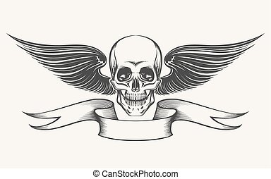 Winged Skull - Skull with Wings and Ribbon. Illustration in...
