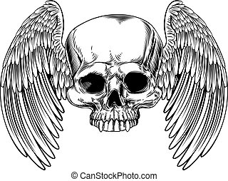 Winged Skull Vintage Retro Woodcut Style - A winged skull in...