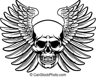 Winged Skull Vintage Woodcut Engraved Style
