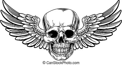 Winged Skull Vintage Woodcut Etched Style - Winged skull...