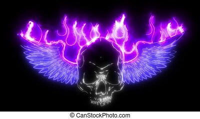 Winged skull with flames laser animation - Winged skull with...