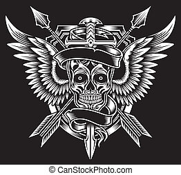 Winged Skull with Sword and Arrows - fully editable vector...