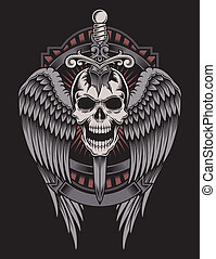 fully editable vector illustration (editable EPS) of winged skull with sword stuck on isolated black background, image suitable for crest, emblem, insignia, t-shirt design or tatto