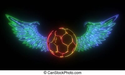 winged soccer ball video animation
