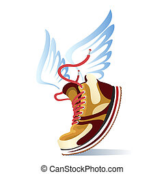 Winged sports shoe icon with a trendy brown sneaker or...
