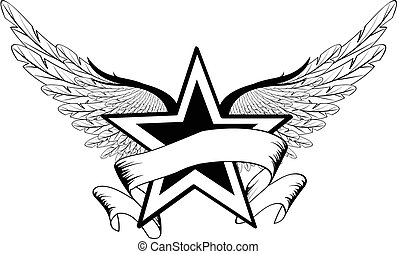winged star 50 - winged star  in vector format