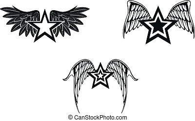 winged star set02 - winged star set in vector format
