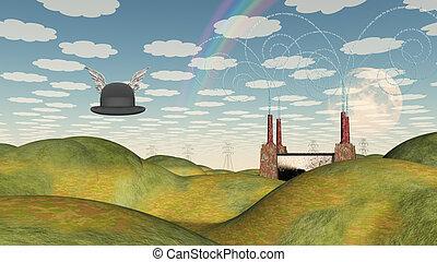winged, surreal, chapéu, paisagem