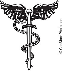 Woodcut variant image of the Rod of Aesculapius with a snake entwined sword.