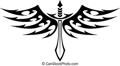 Winged sword tattoo with barbed feathers - Black and white ...