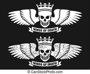 winged, vetorial, desenho, cranio