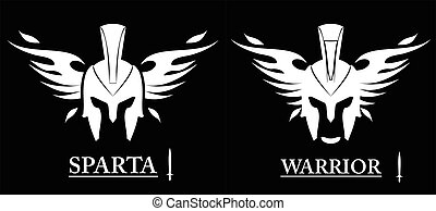 front view of winged warrior head combine with text and sword icon. sparta helmet isolated on black background. Suitable for team identity, mascot, community icon, product identity, etc.