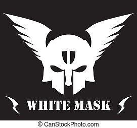 winged white skull mask