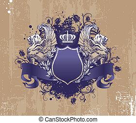 wingget, kroon, grunge, achtergrond, leeuwen