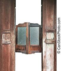 winging, vendange, bois, vieux, portes