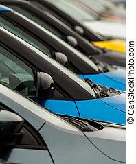 wingmirrors, automobile, forecourt, commercianti, mostra