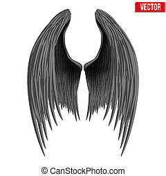 wings., μαύρο , δίπλωσα , άγγελος , vector.