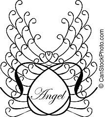 wings., 単語, sketch., 天使, 型, 隔離された, イラスト, ラベル, ベクトル, 背景, lettering.