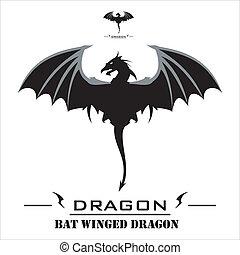 wings., 蝙蝠, 黑色, 龍