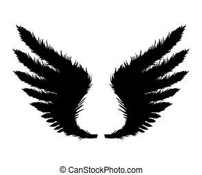 wings., 黒, ベクトル, シルエット, イラスト