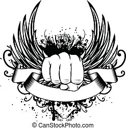 Vector illustration t-shirt design fist and wings