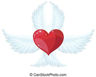 wings and heart, vector logo or sign.