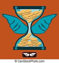 wings., bank., 金, お金, 堆積, コイン, お金。, funds., 時間, 移動, 砂時計, working.