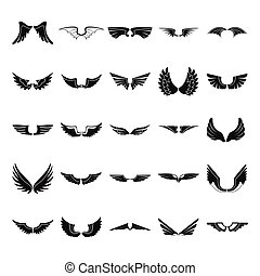 Wings black simple flat silhouette icons set