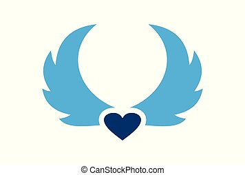 wings blue heart love logo