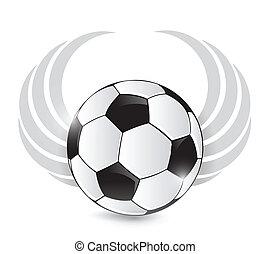 wings., bola futebol, desenho, ilustração
