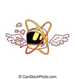 wings., capacete, motocicleta, coloridos, ilustração, caricatura