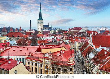 wings., cidade, antigas, estonia., centro, telhados, topo, telhado, tallinn., casas, histórico, tallinn, vista, vermelho, europeu