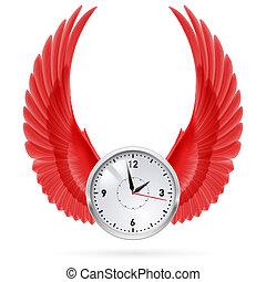 wings., clock., vermelho